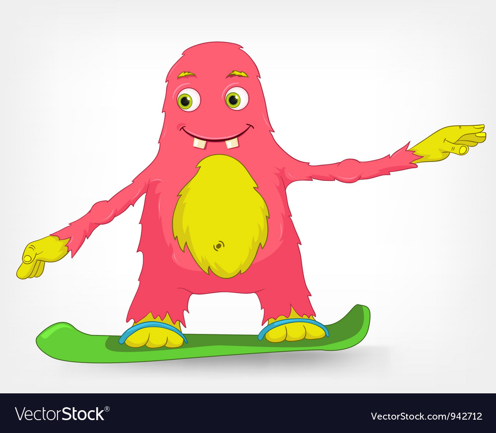 Funny monster snowboarding vector | Price: 3 Credit (USD $3)