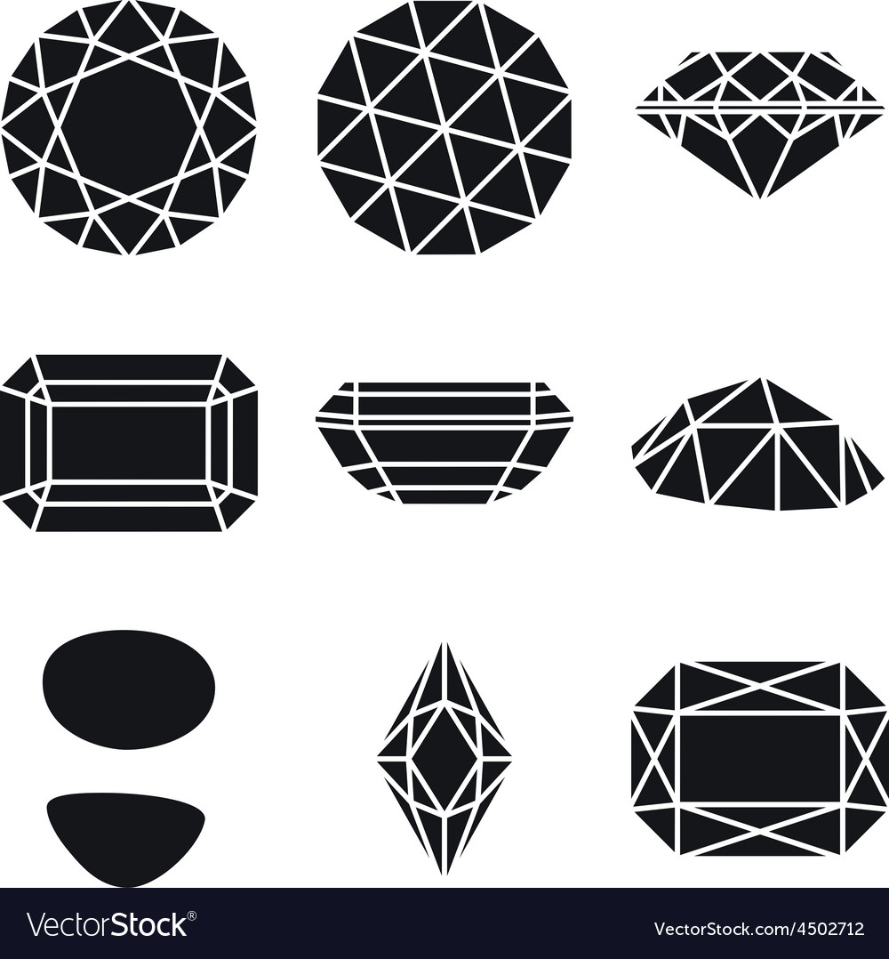 Gemstone shapes icons vector | Price: 1 Credit (USD $1)