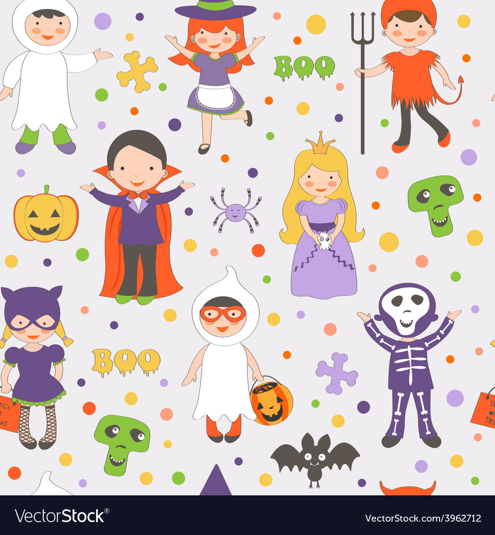 Halloween kids pattern vector | Price: 1 Credit (USD $1)