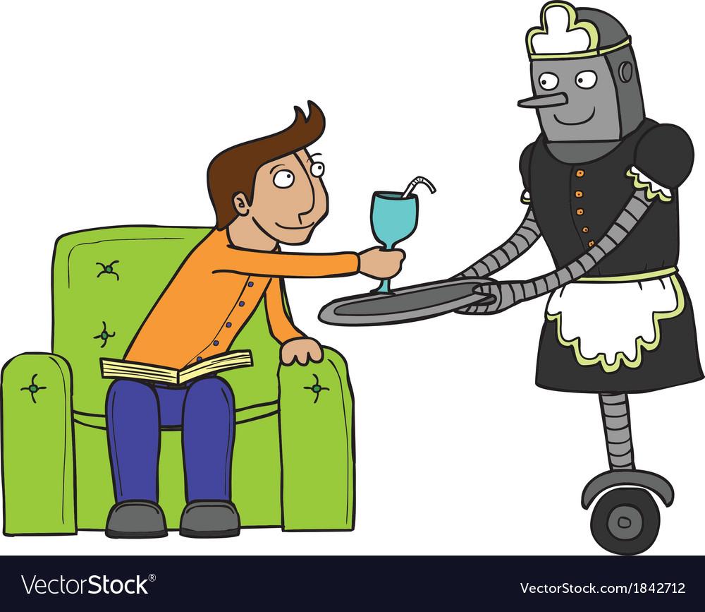 Maid robot cartoon vector | Price: 1 Credit (USD $1)