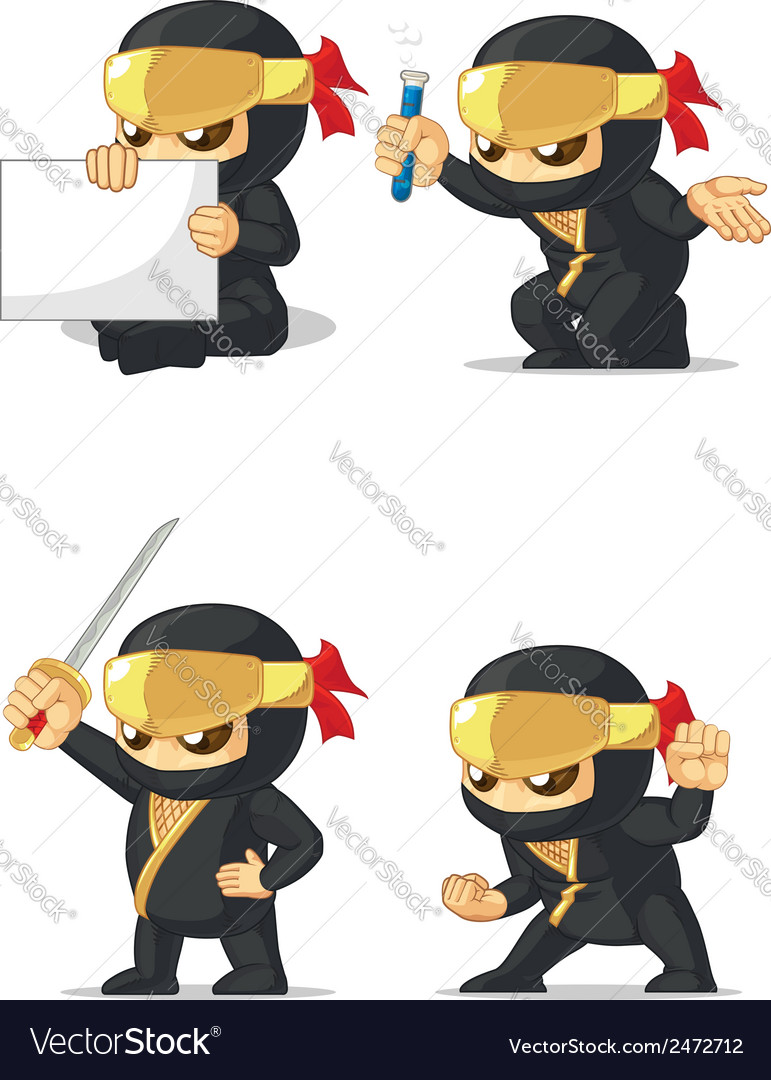 Ninja customizable mascot 2 vector | Price: 1 Credit (USD $1)