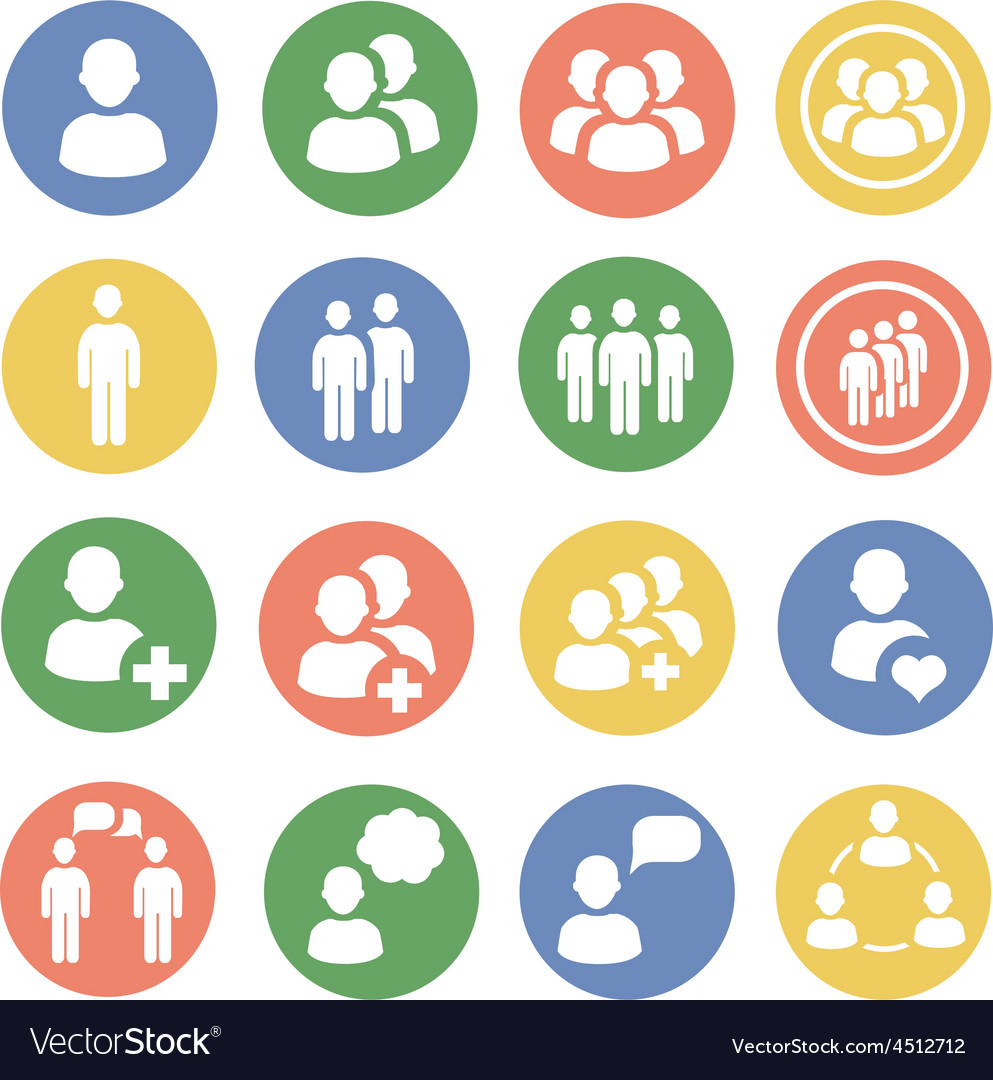 People and social colored icon set vector | Price: 1 Credit (USD $1)