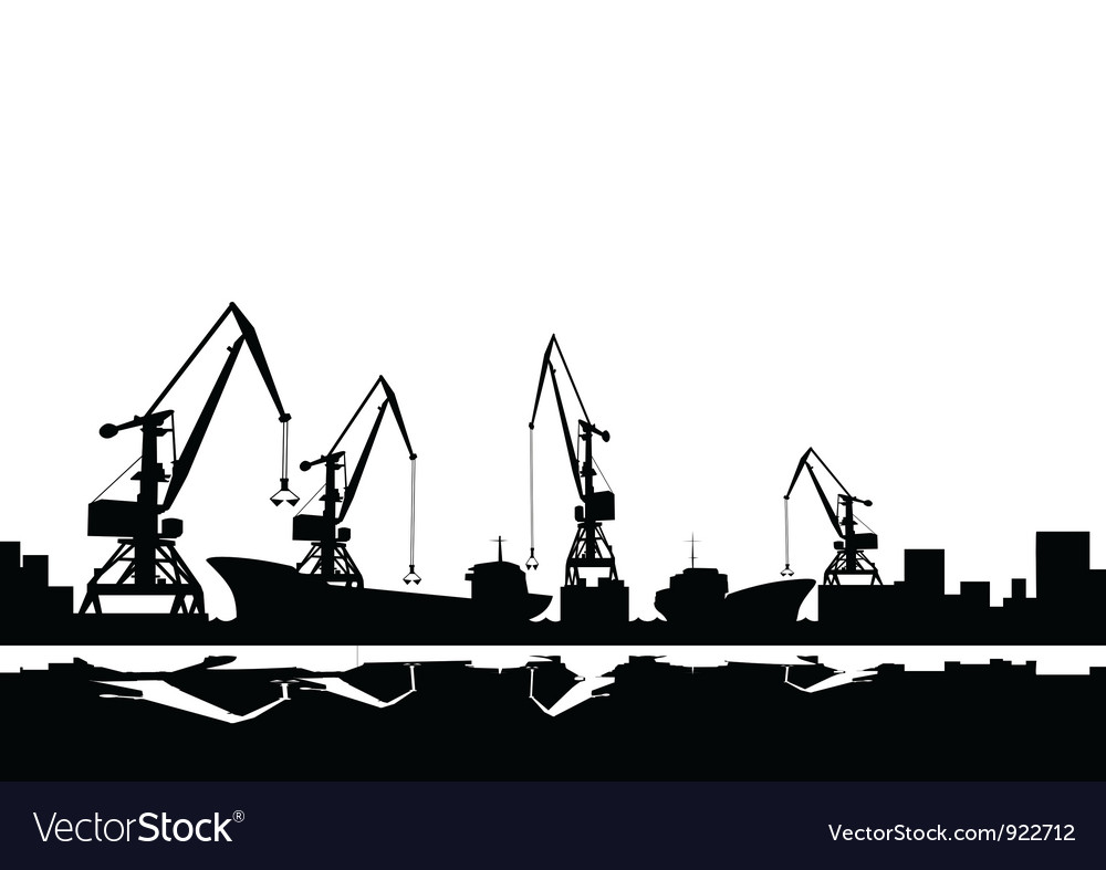 Port cranes and ships vector | Price: 1 Credit (USD $1)