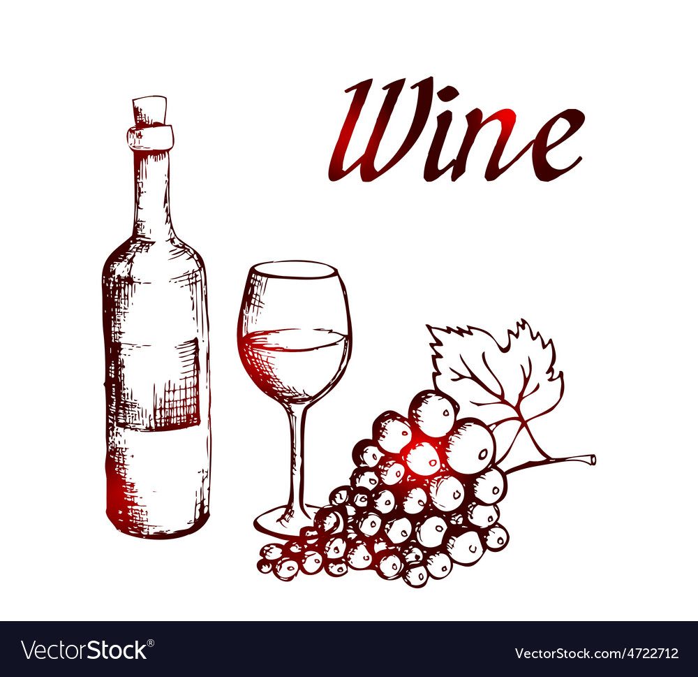 Sketch of wine bottle glass and grapes vector | Price: 1 Credit (USD $1)