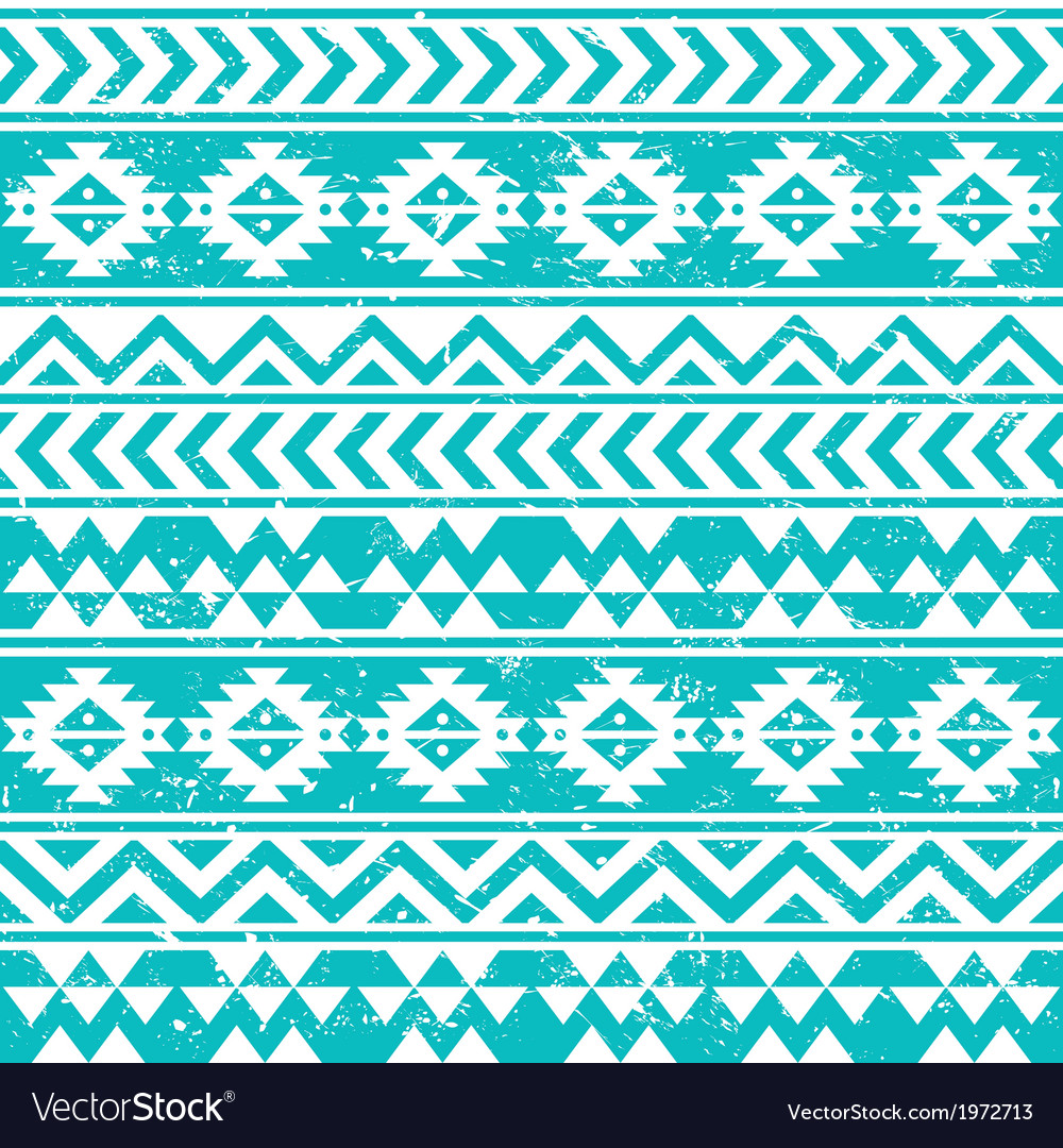 Aztec tribal seamless grunge white pattern on blue vector | Price: 1 Credit (USD $1)