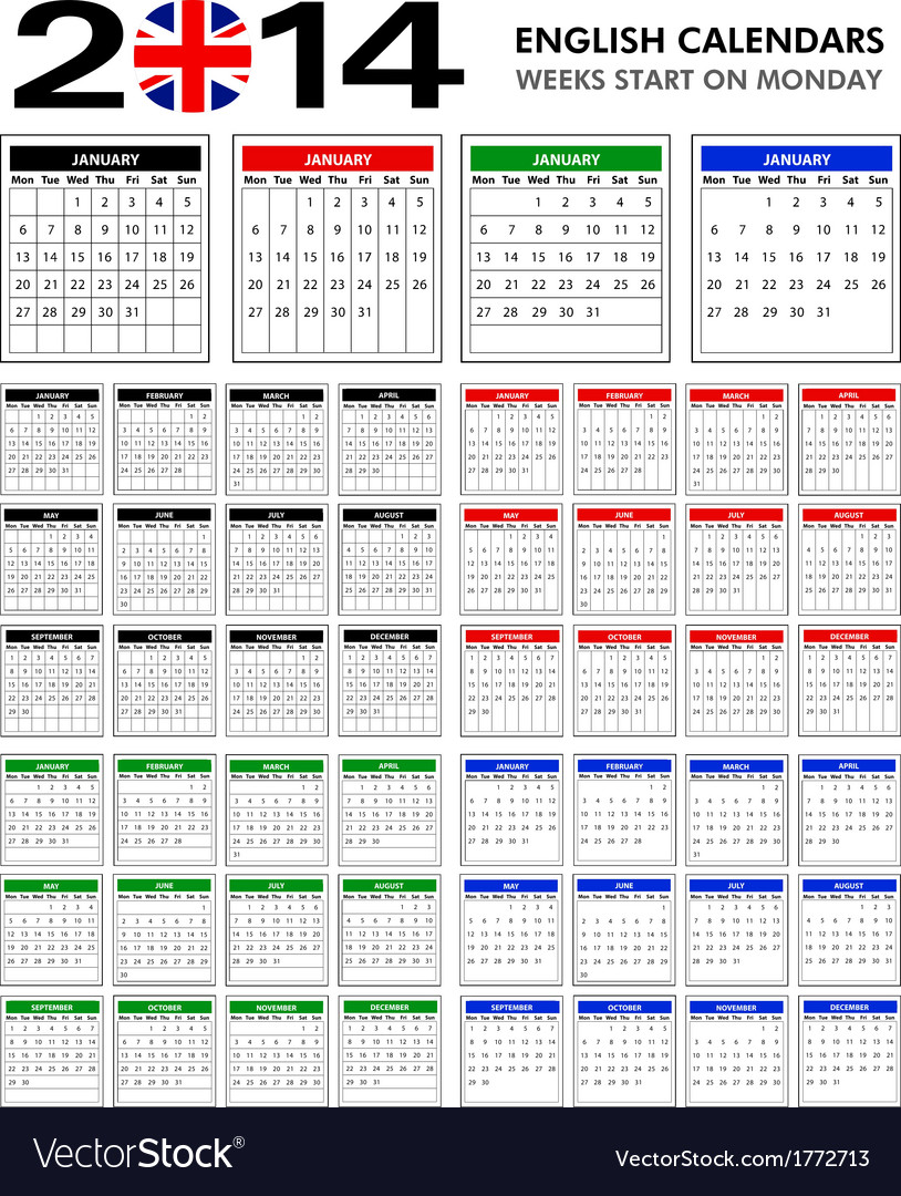 Calendar 2014 starts monday vector | Price: 1 Credit (USD $1)