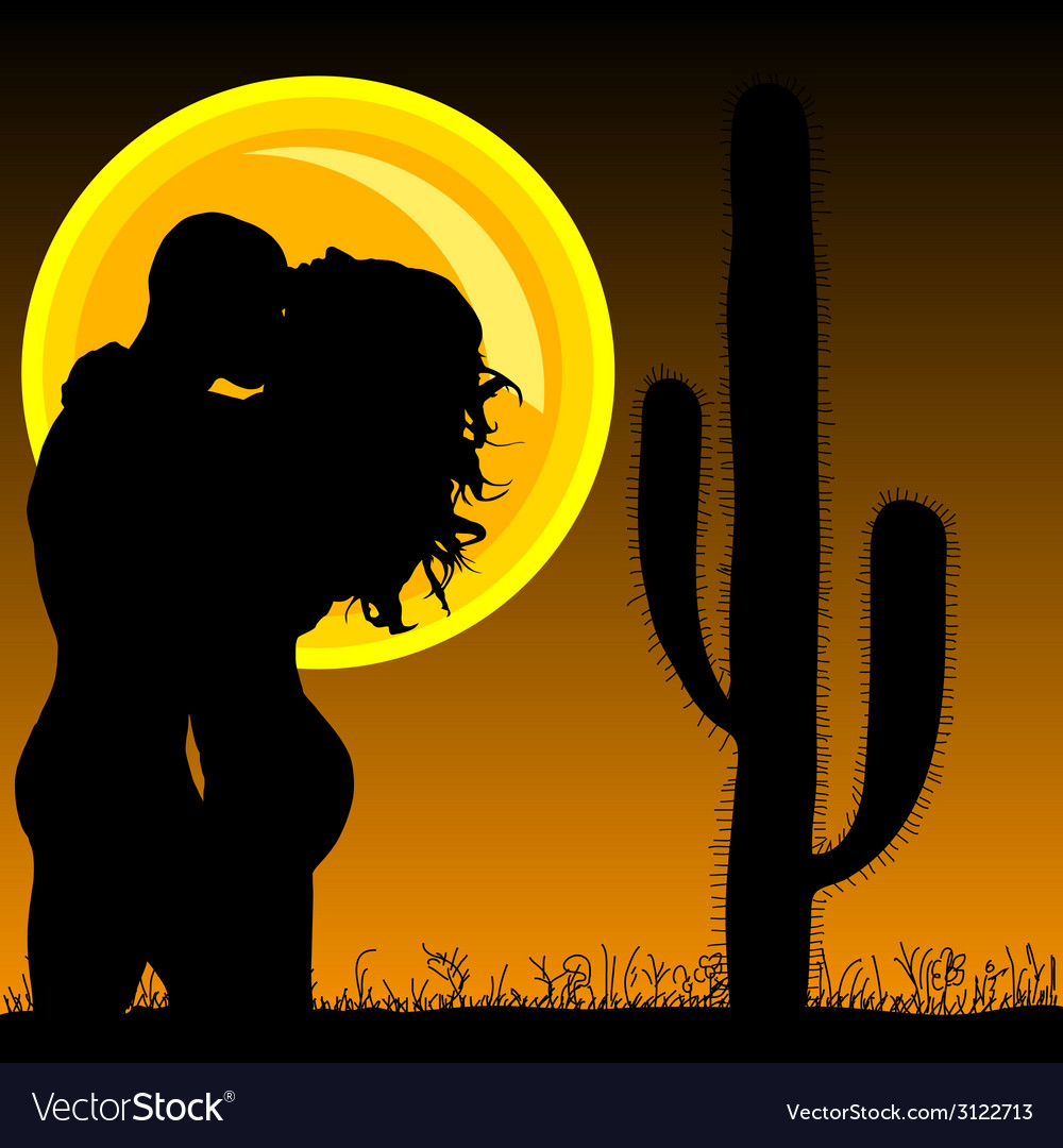 Couple in love with cactus and sun vector   Price: 1 Credit (USD $1)