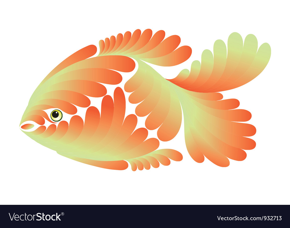 Gold small fish vector | Price: 1 Credit (USD $1)