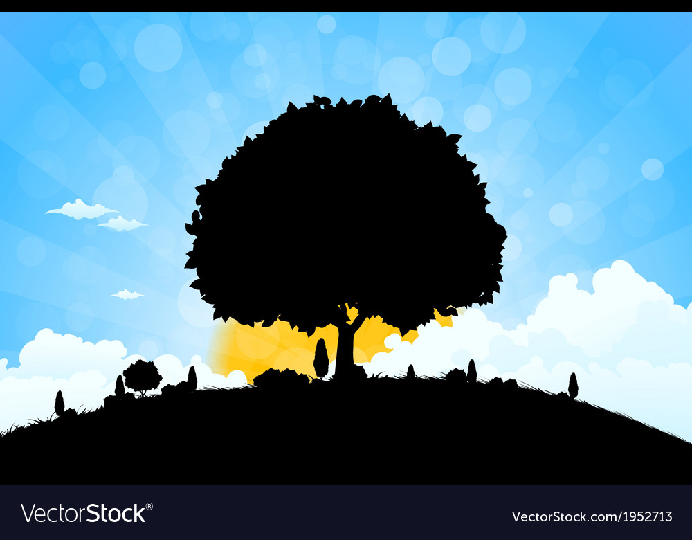 Landscape with grass clouds and trees vector | Price: 1 Credit (USD $1)