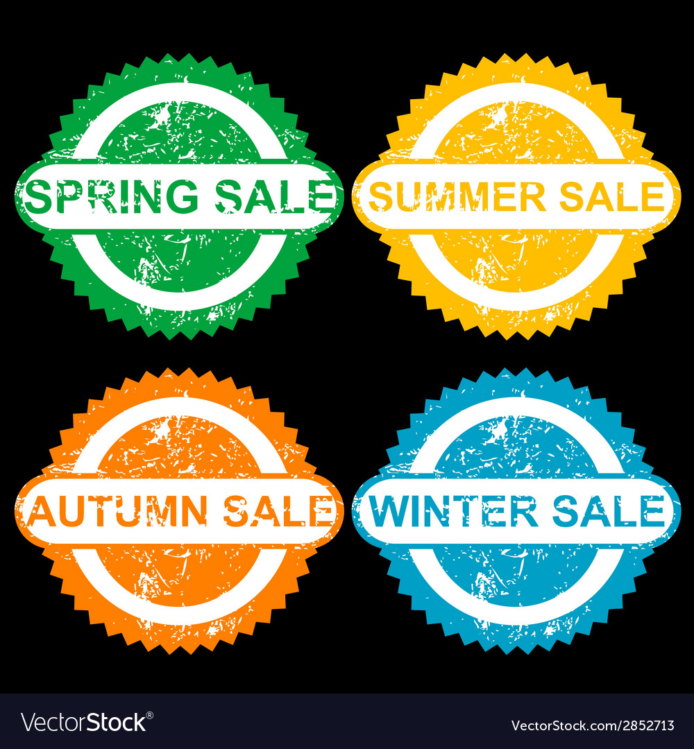Rubber stamps with texr spring sale sumer sale vector | Price: 1 Credit (USD $1)