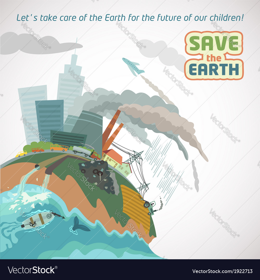 Save the earth big city pollution vector | Price: 3 Credit (USD $3)