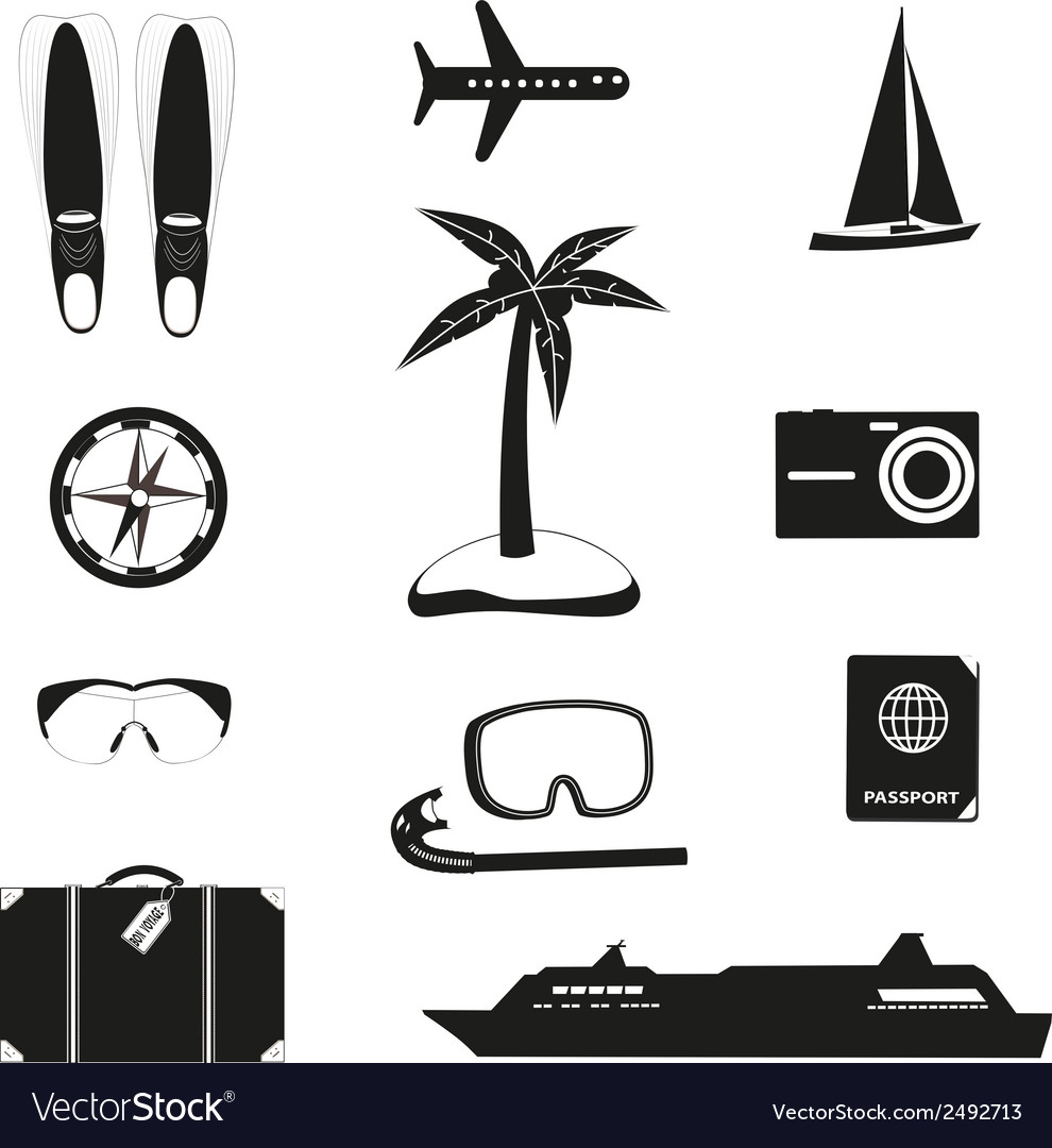 Set of black travel icons vector | Price: 1 Credit (USD $1)