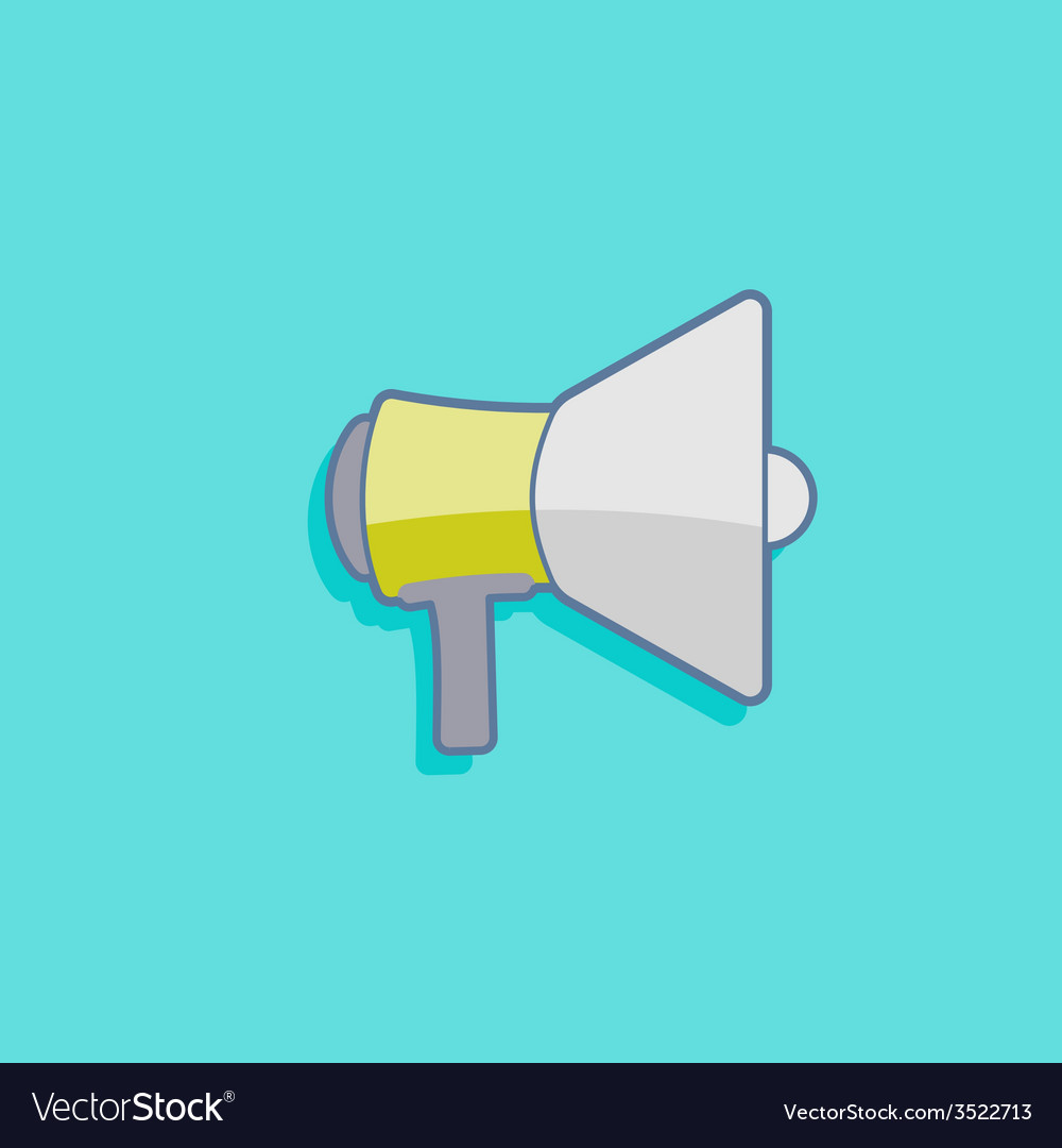 Simple with a megaphone loudspeaker icon flat vector | Price: 1 Credit (USD $1)
