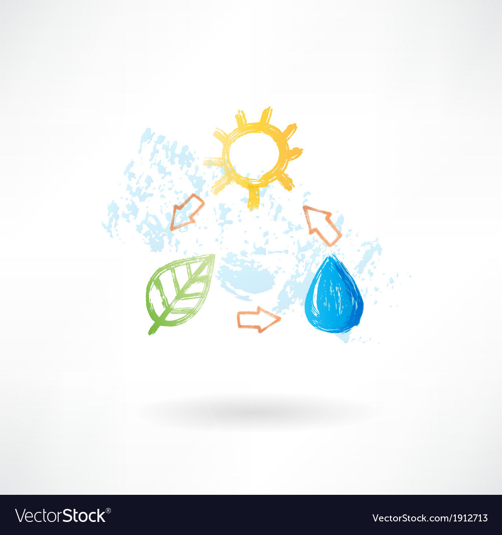 Water cycle grunge icon vector | Price: 1 Credit (USD $1)