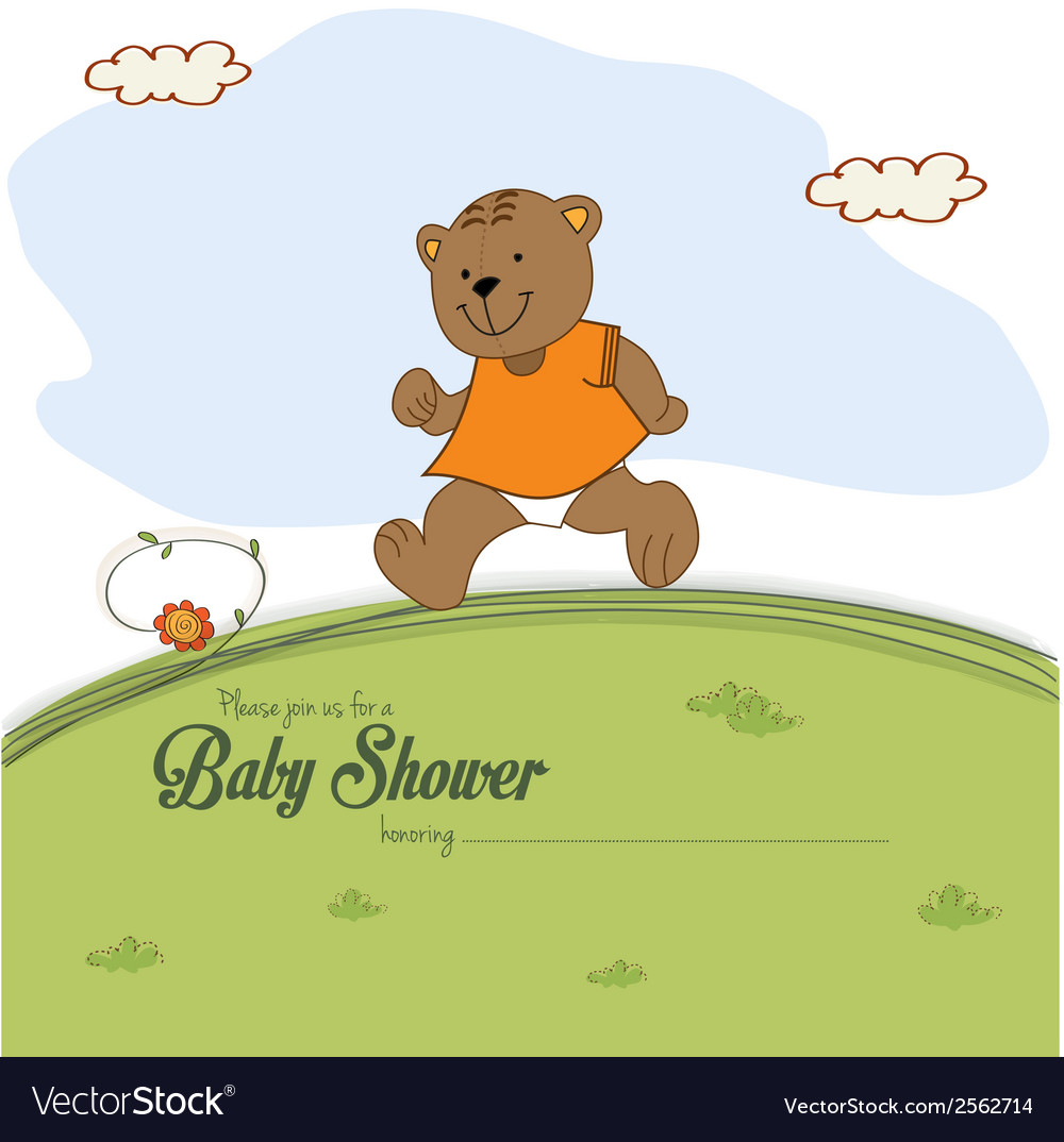 Baby shower card with teddy bear chasing rushed to vector | Price: 1 Credit (USD $1)