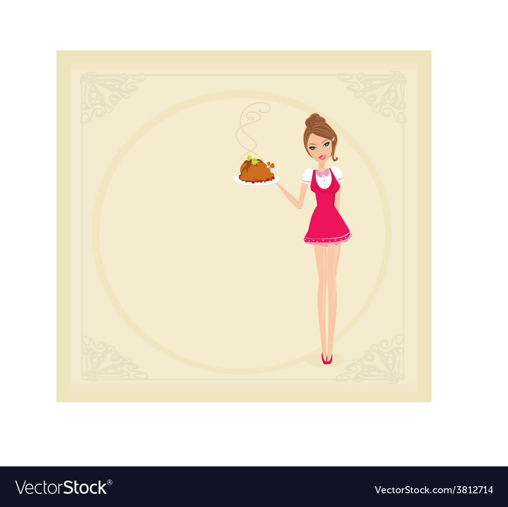 Beautiful waitress serving a chicken vector   Price: 1 Credit (USD $1)