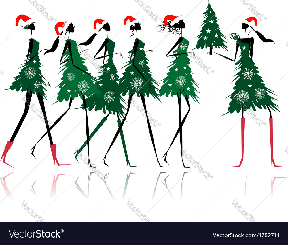 Christmas tree girls for your design vector | Price: 1 Credit (USD $1)