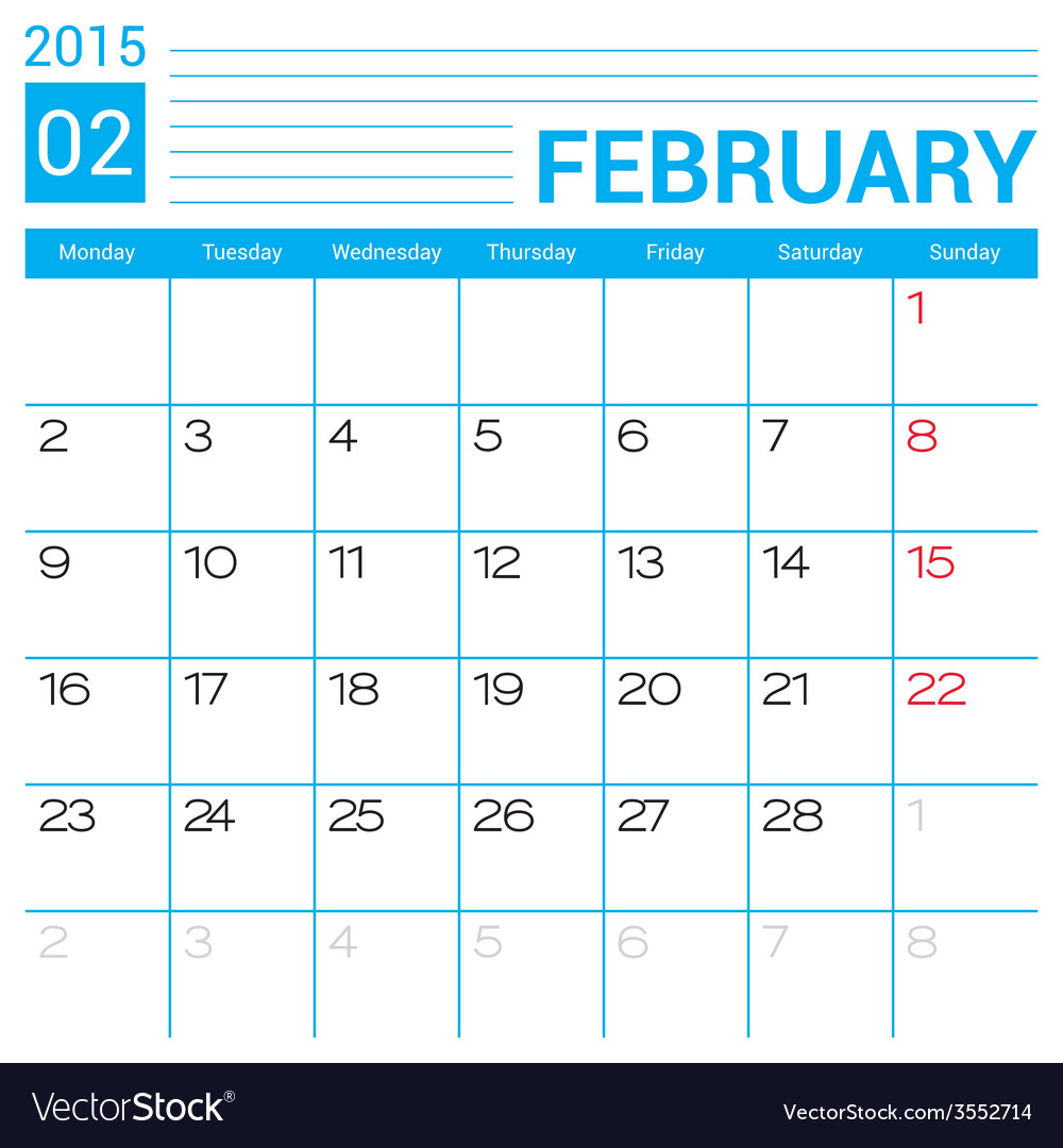 February 2015 calendar page template vector | Price: 1 Credit (USD $1)