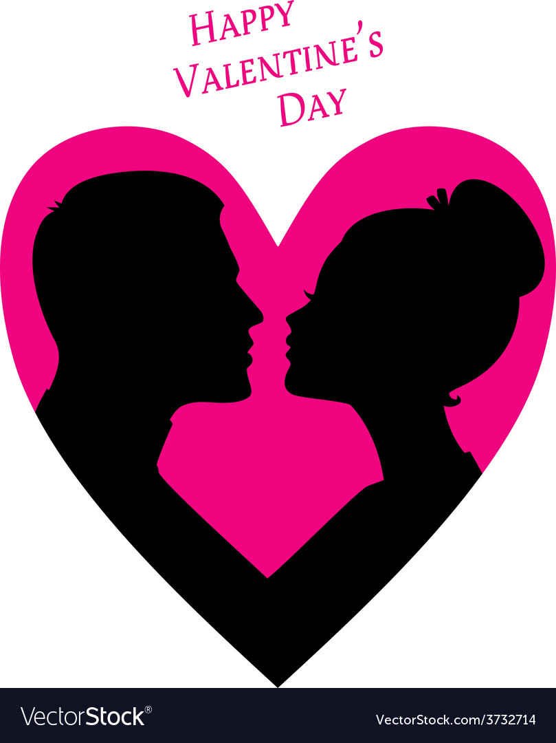 Happy valentines day couple silhouette image vector