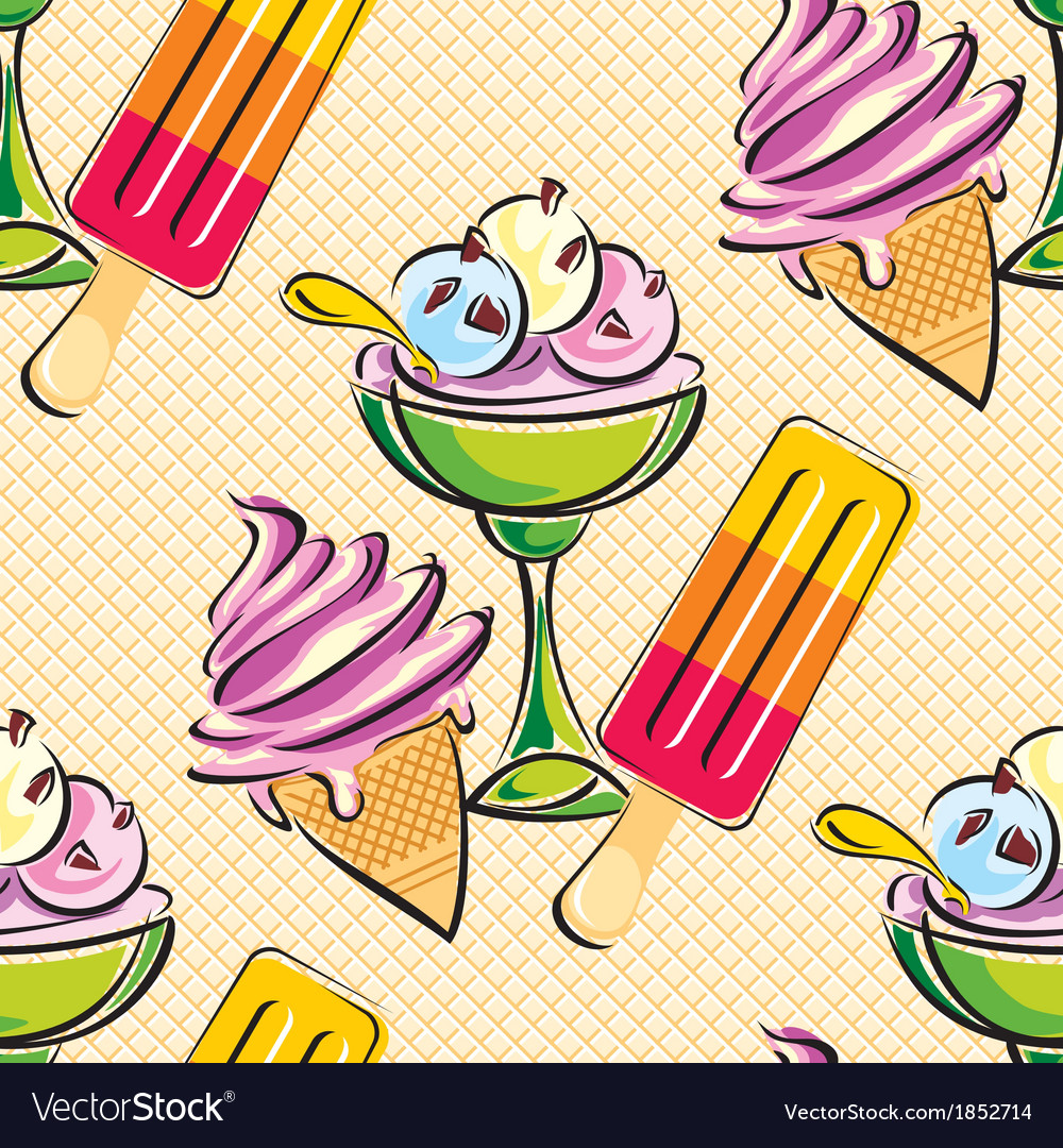 Ice cream seamless vector | Price: 1 Credit (USD $1)
