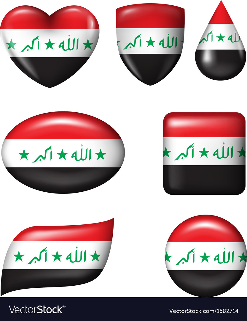 Iraq flag in various shape glossy button vector | Price: 1 Credit (USD $1)