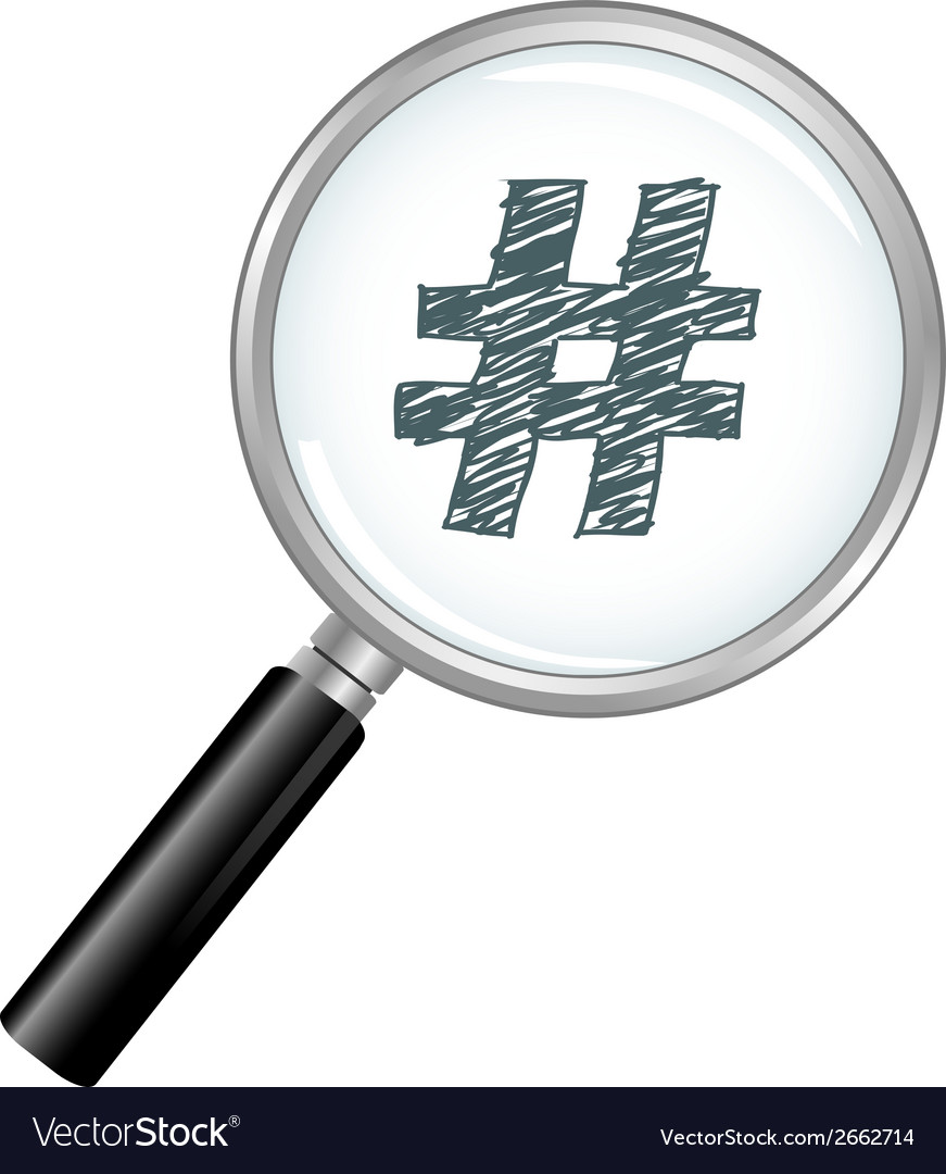 Magnified hash tag vector | Price: 1 Credit (USD $1)