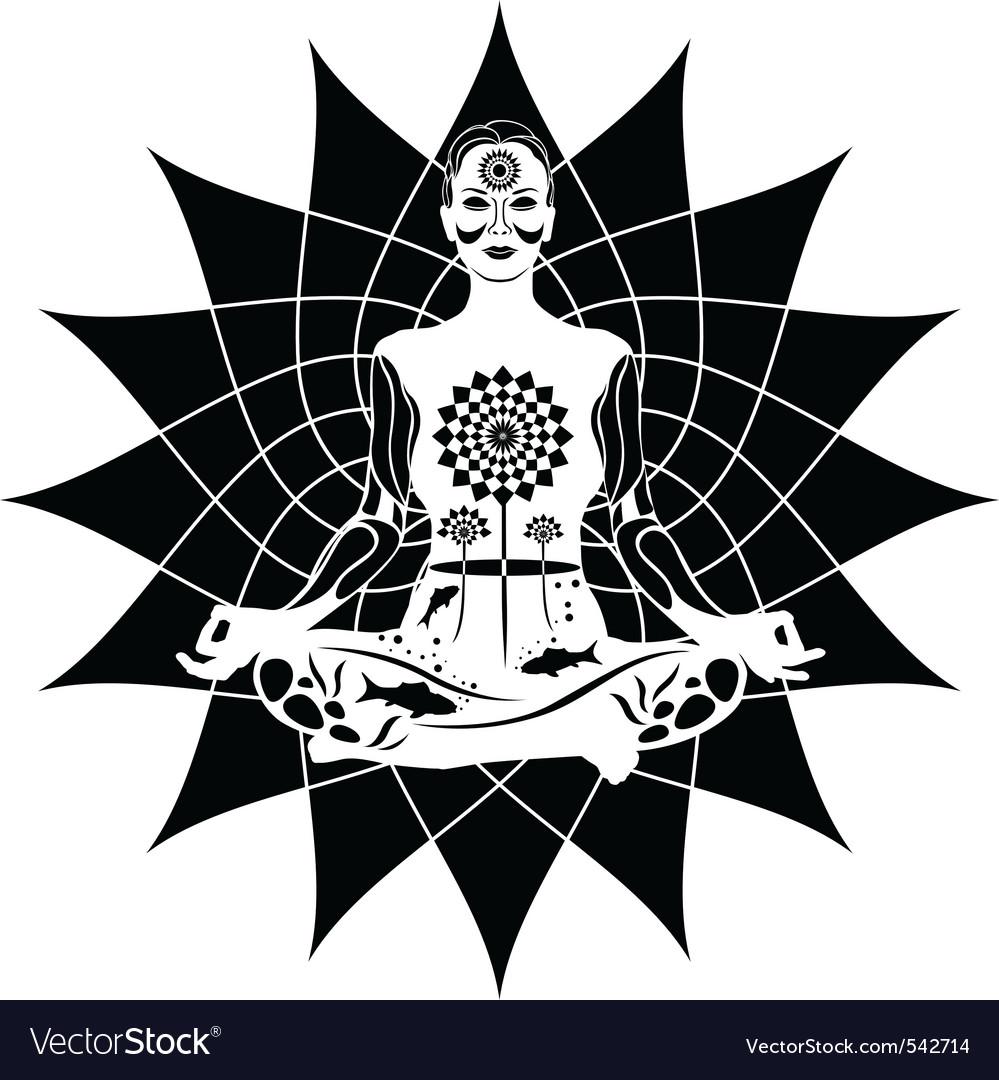 Meditating woman vector | Price: 1 Credit (USD $1)
