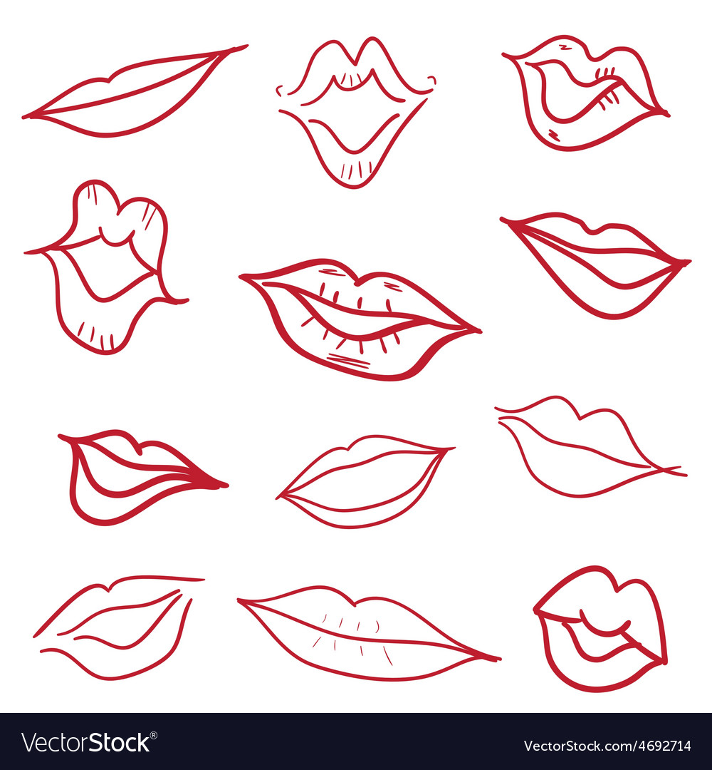 Red kiss lips mouth hand drawn vector | Price: 1 Credit (USD $1)
