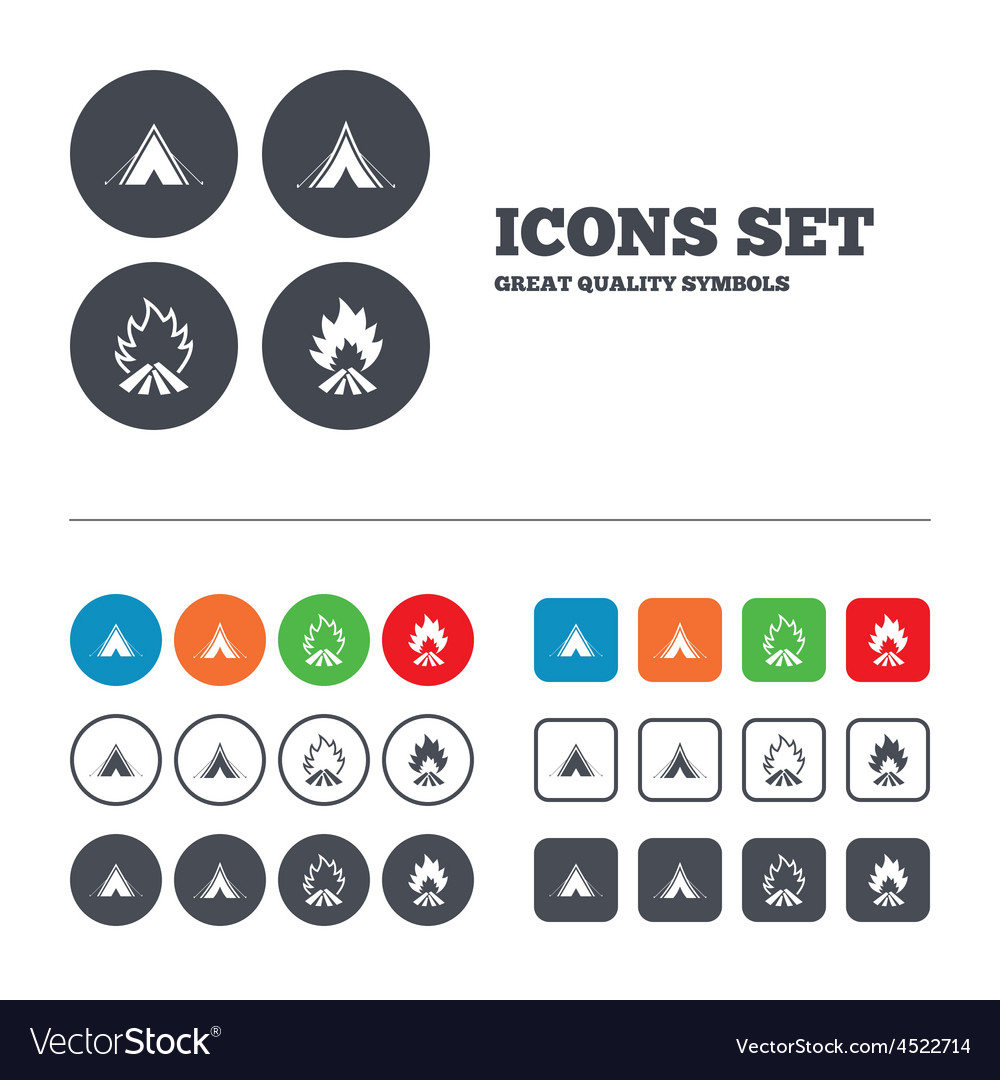 Tourist camping tent signs fire flame icons vector | Price: 1 Credit (USD $1)