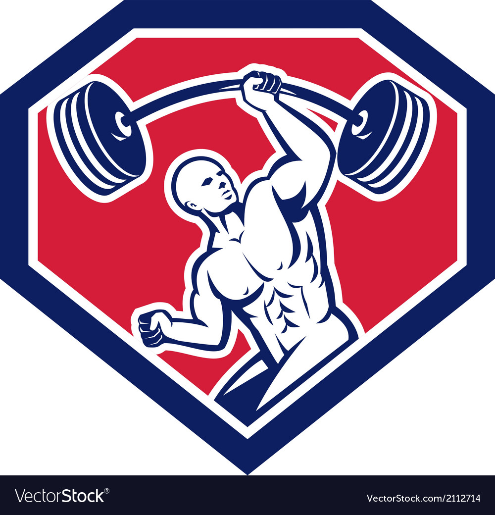 Weightlifter lifting barbell shield retro vector | Price: 1 Credit (USD $1)