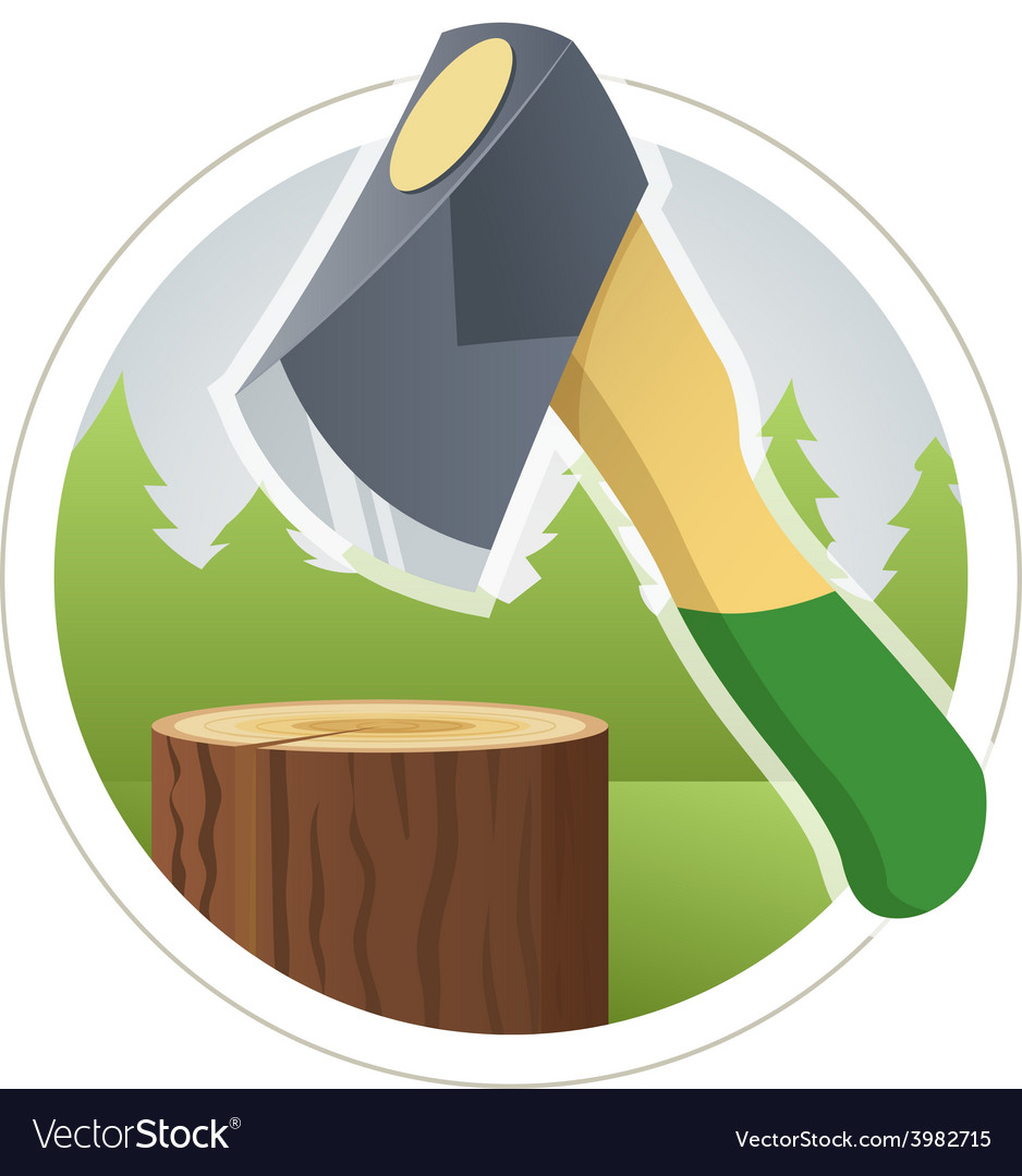 Ax chop wooden log vector | Price: 3 Credit (USD $3)