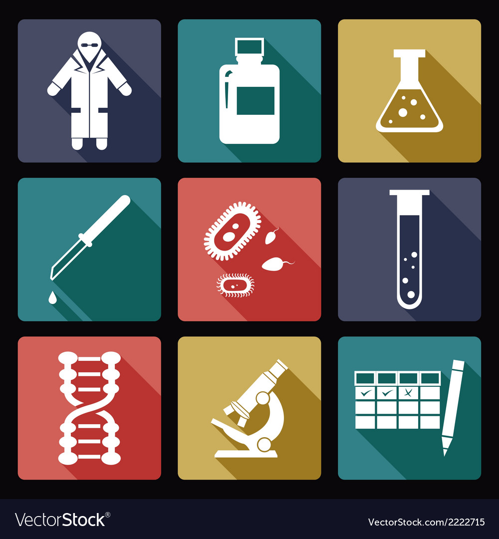 Biology flat icons vector | Price: 1 Credit (USD $1)