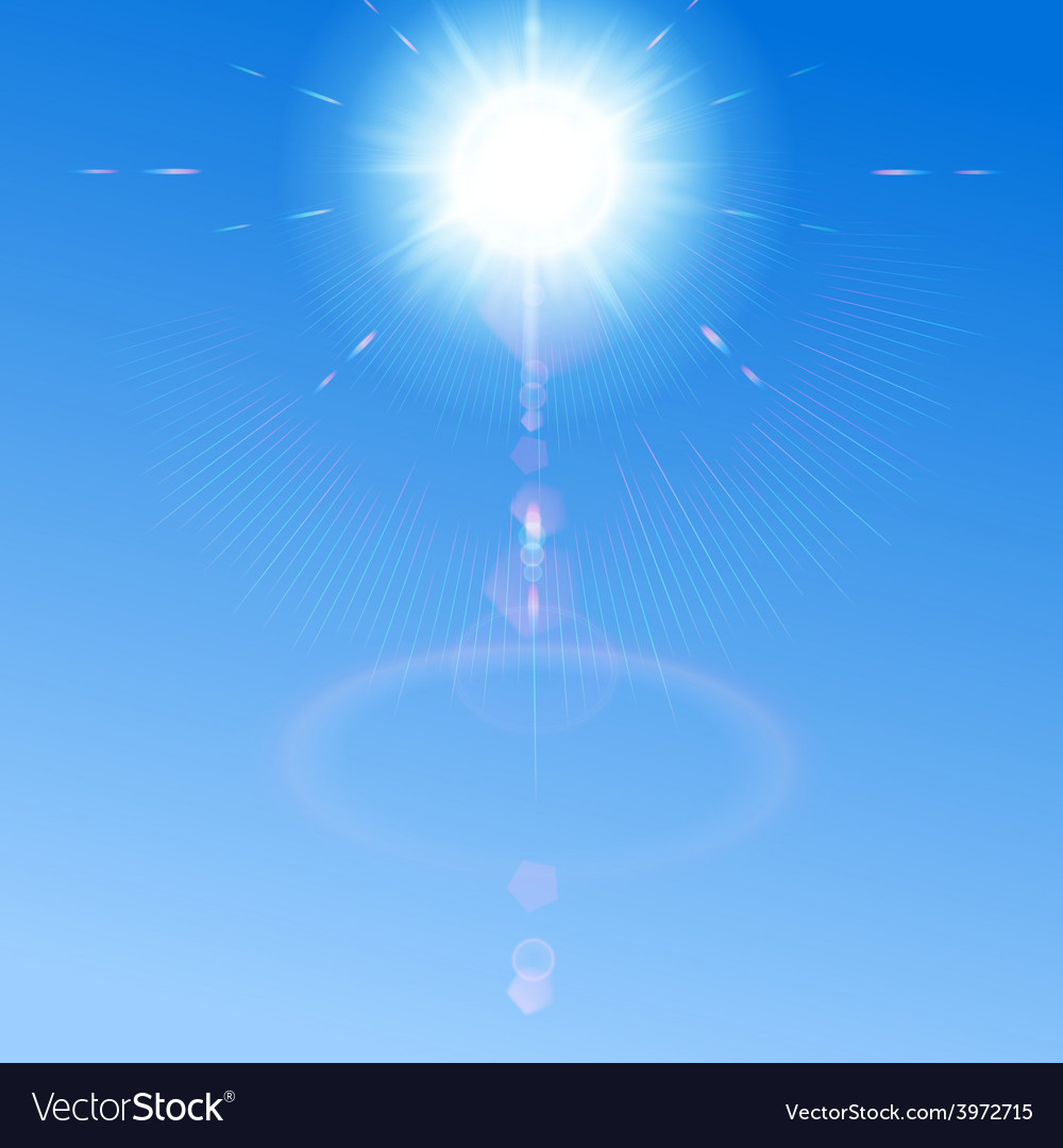Blue sky with sun and lens flare vector | Price: 1 Credit (USD $1)