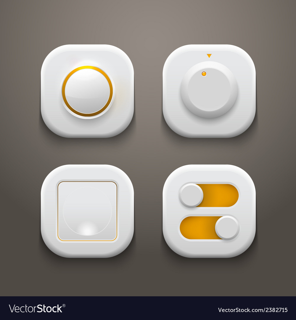 Buttons switches knobs set with realistic light vector | Price: 1 Credit (USD $1)