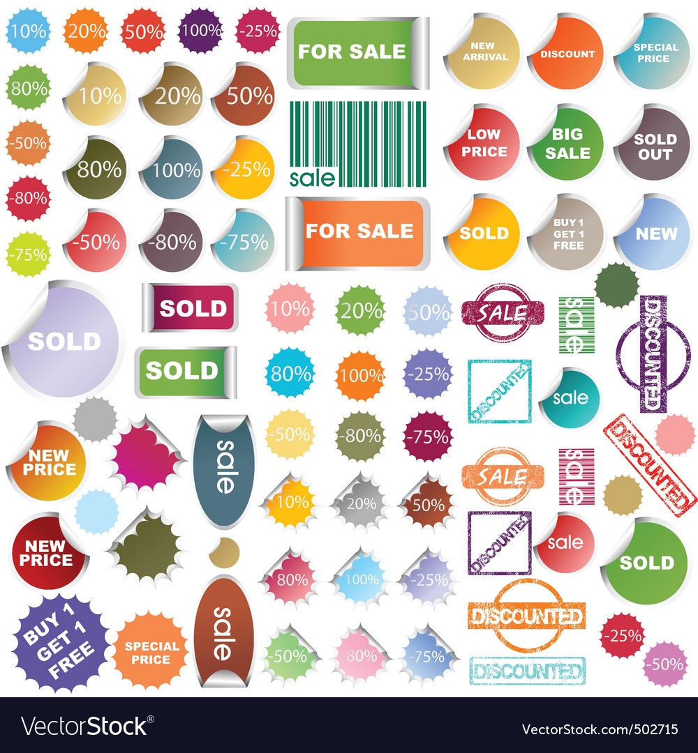 Colored promotional stickers and stamps vector | Price: 1 Credit (USD $1)