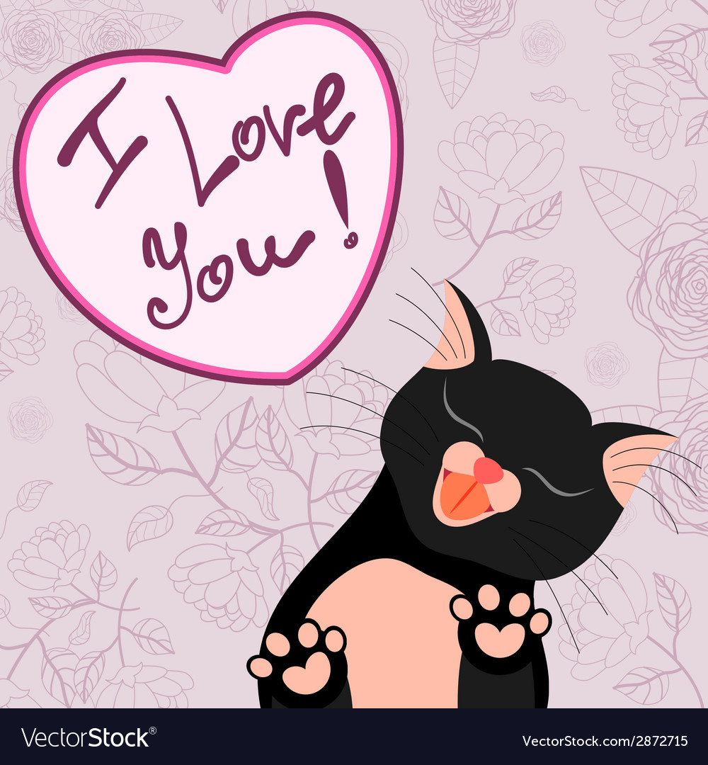 Cute romantic card with tender cat who kisses you vector | Price: 1 Credit (USD $1)