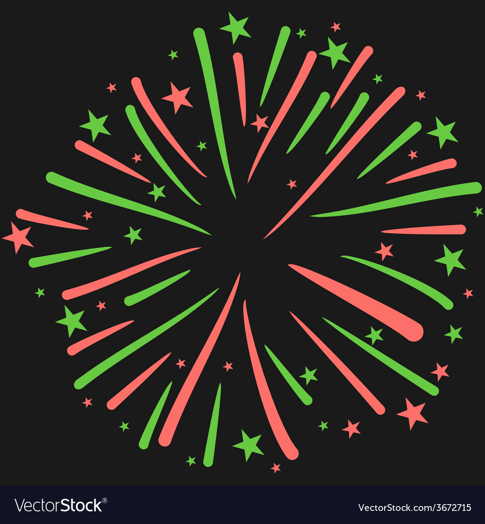Firework on black background new year ce vector   Price: 1 Credit (USD $1)