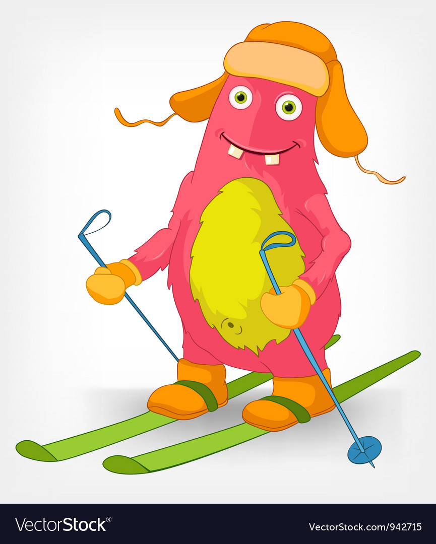 Funny monster skiing vector | Price: 3 Credit (USD $3)