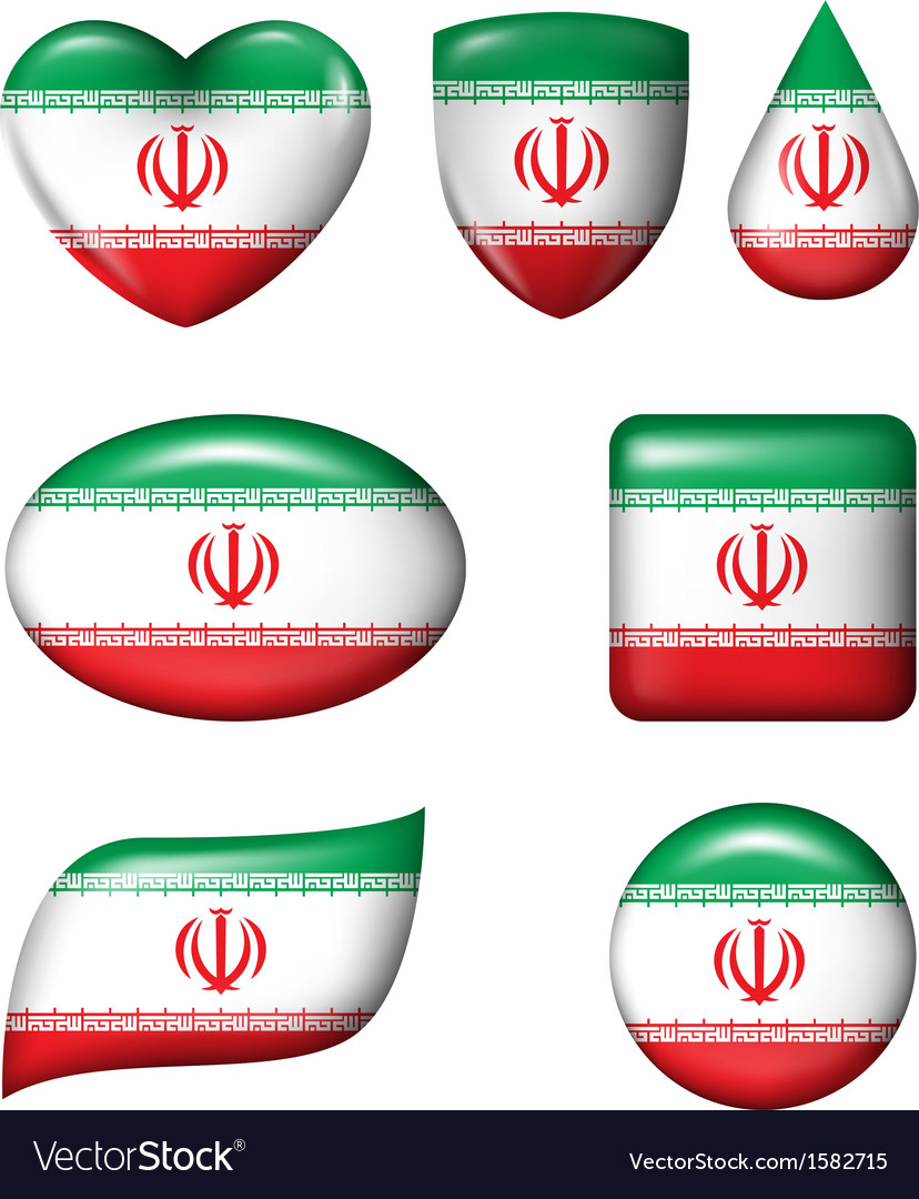 Iran flag in various shape glossy button vector | Price: 1 Credit (USD $1)