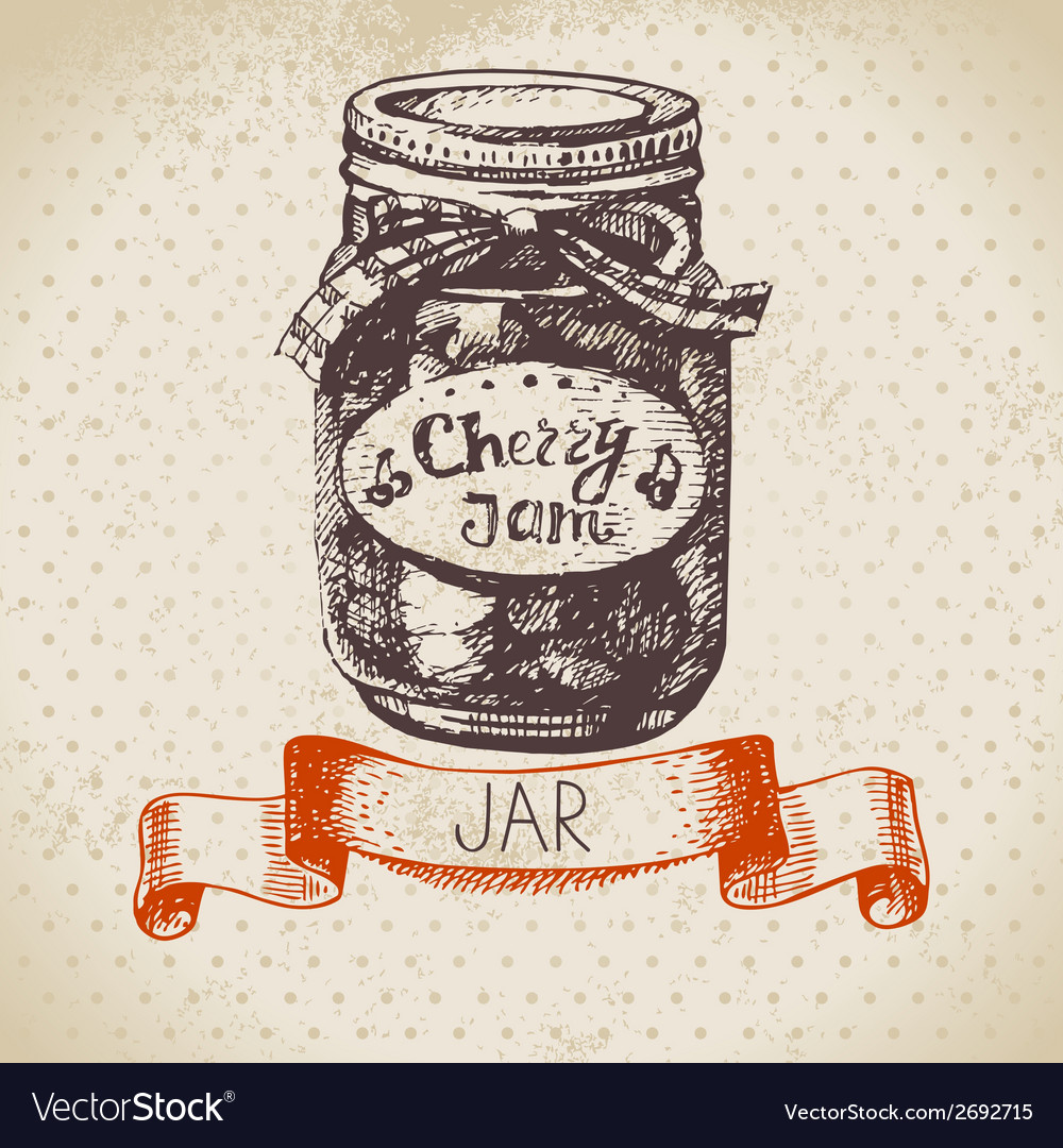 Rustic canning jar with cherry jam vector   Price: 1 Credit (USD $1)