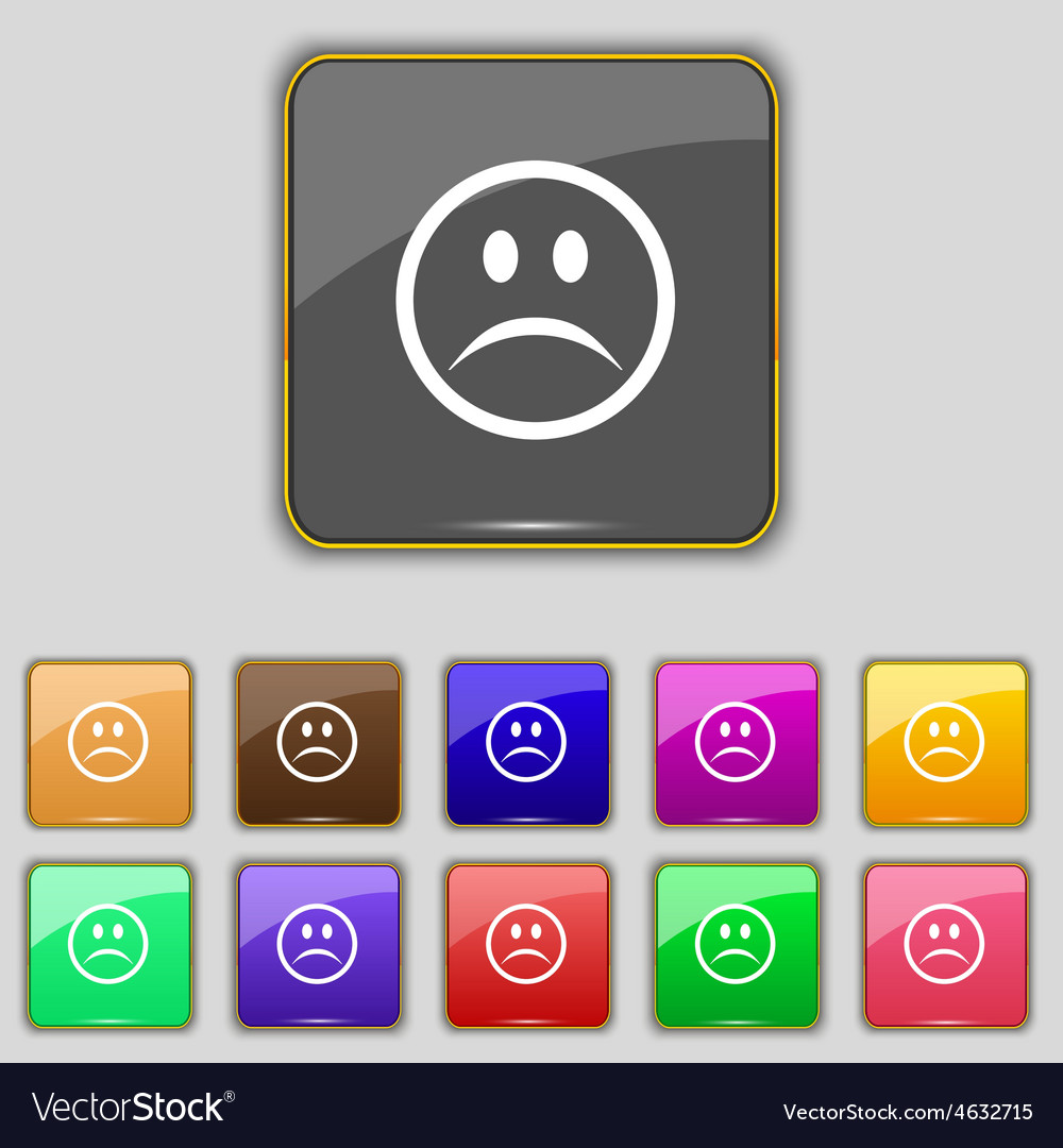 Sad face sadness depression icon sign set with vector | Price: 1 Credit (USD $1)