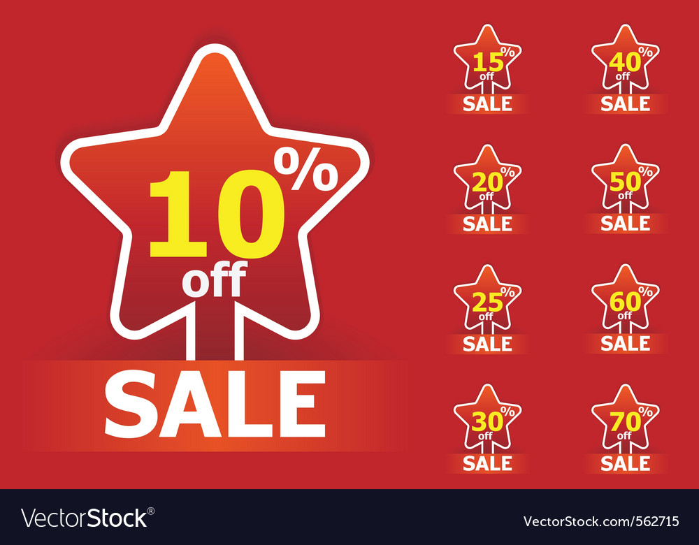 Sale star stickers vector | Price: 1 Credit (USD $1)