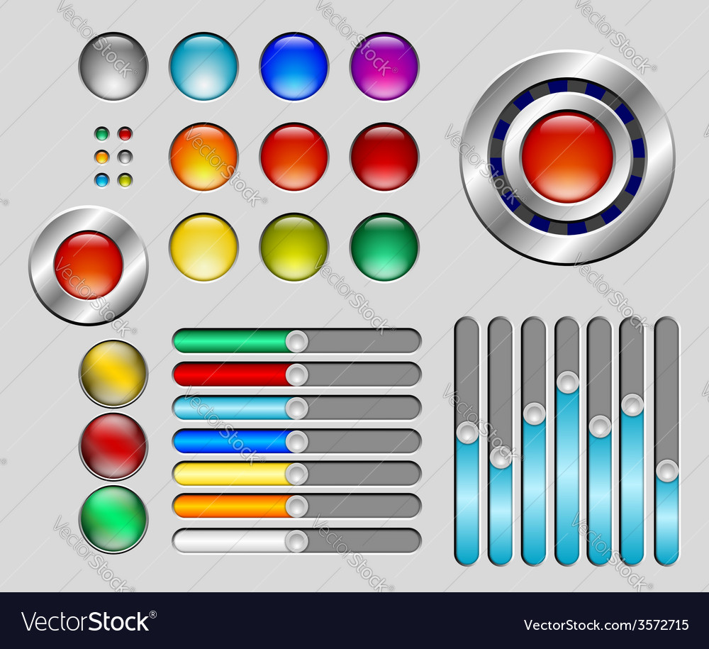 Set of colorful buttons and sliders vector | Price: 1 Credit (USD $1)
