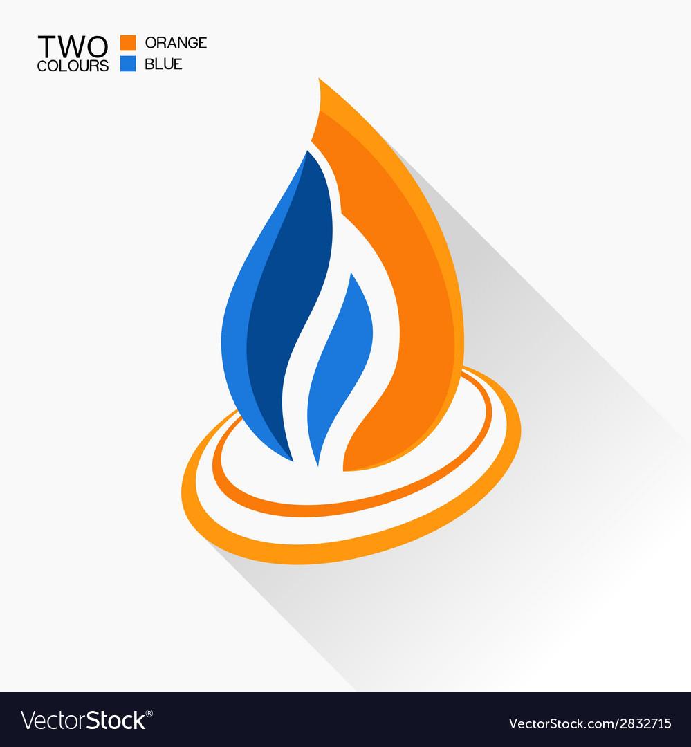 Symbol fire dark blue and orange flame glass icon vector | Price: 1 Credit (USD $1)