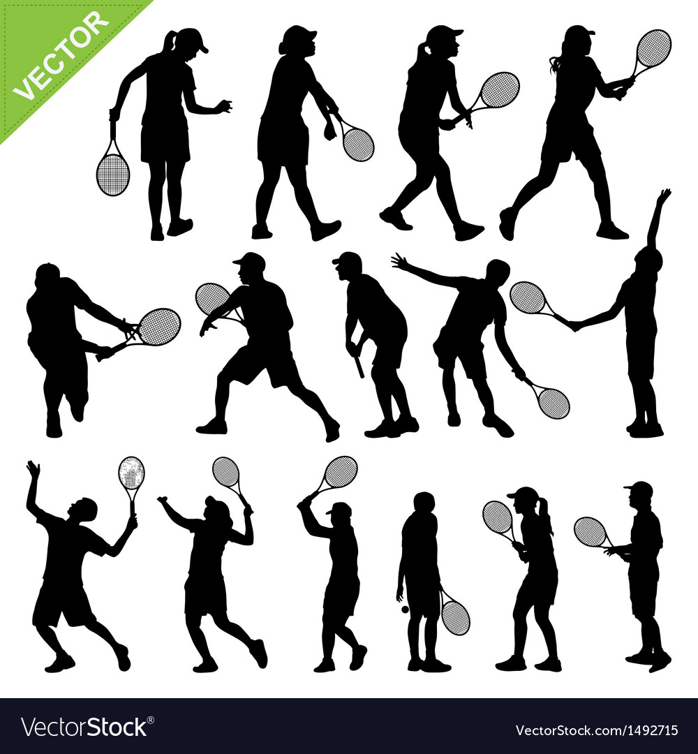 Tennis player silhouettes vector | Price: 1 Credit (USD $1)