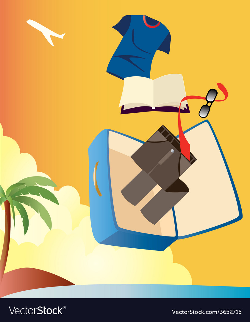 Vacation-with-man-suitcase vector | Price: 1 Credit (USD $1)
