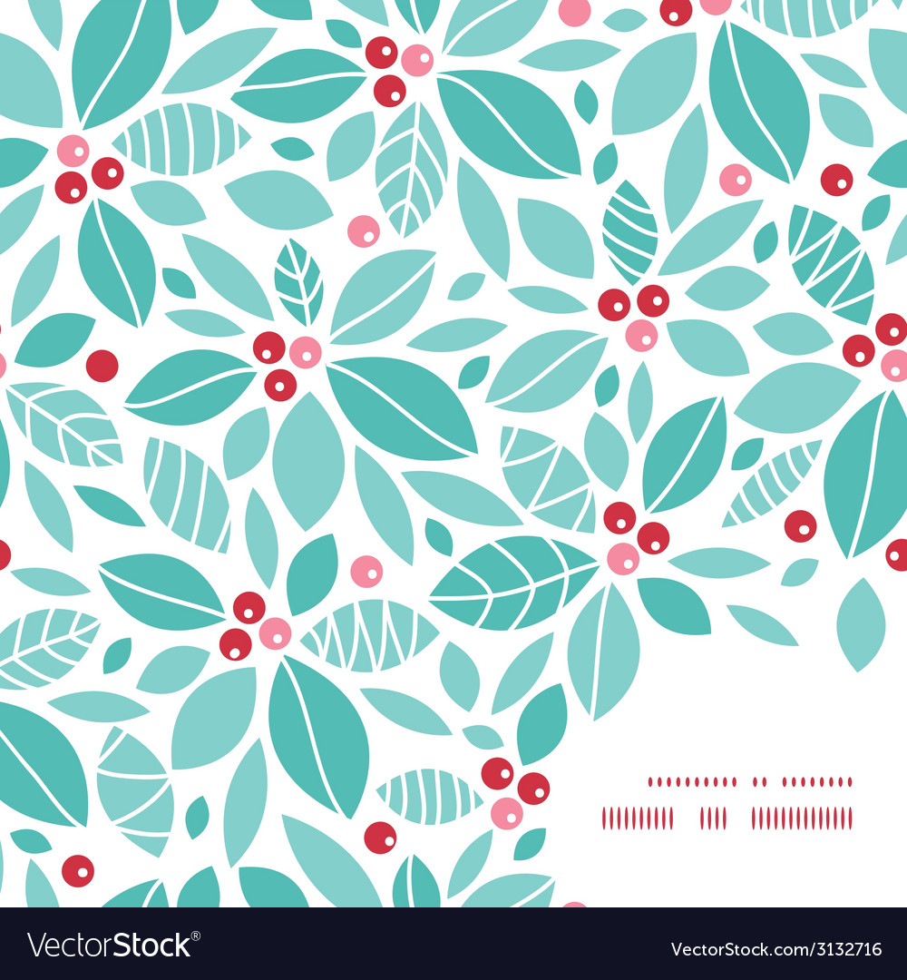 Christmas holly berries frame corner pattern vector | Price: 1 Credit (USD $1)