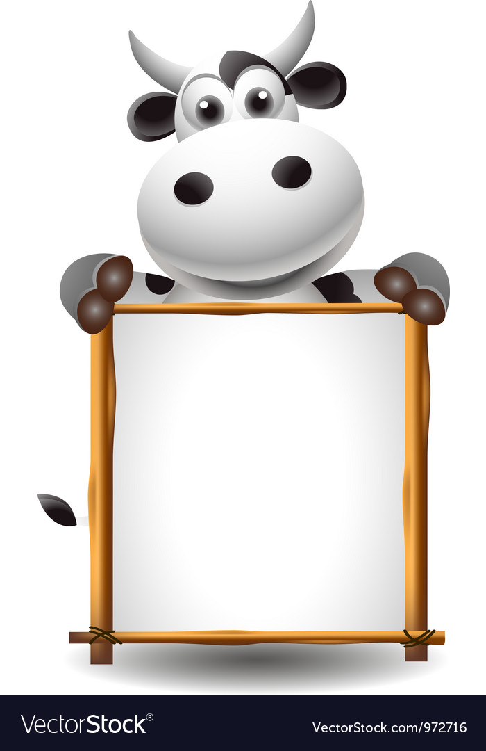 Funny cartoon cow with board vector | Price: 3 Credit (USD $3)