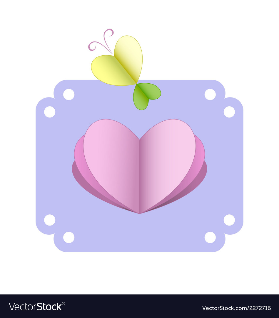 Greeting card with heart and butterfly vector | Price: 1 Credit (USD $1)