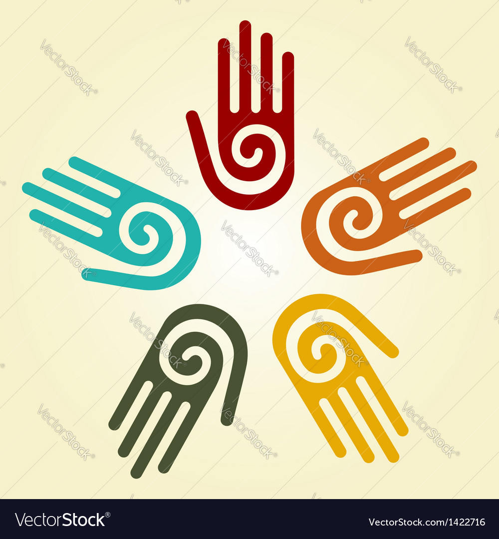 Hand with spiral symbol in a circle vector | Price: 1 Credit (USD $1)